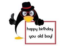 Pingouin de joyeux anniversaire Photo libre de droits