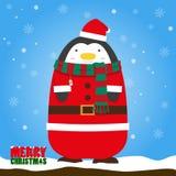 Pingouin de Joyeux Noël en costume de Santa Claus photos stock