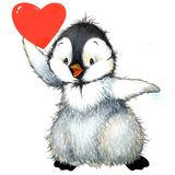 Pingouin de Saint Valentin, coeur rouge Illustration d'aquarelle Photographie stock libre de droits