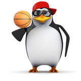 pingouin du basket-ball 3d Photo libre de droits