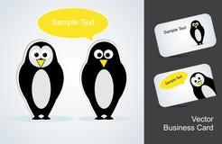 Pingouin et une carte de visite professionnelle de visite Photos stock