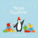 Pingouin heureux avec des cadeaux sur le fond bleu illustration libre de droits