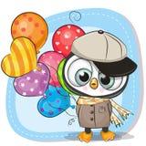 Pingouin mignon de bande dessinée avec le ballon illustration stock