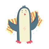 Pingouin mignon de bande dessinée séchant son corps avec une serviette rayée après caractère coloré de bain, vecteur animal de to Images stock
