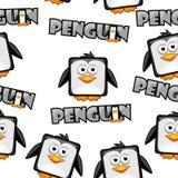 Pingouin mignon de place de bande dessinée de modèle sans couture sur le fond blanc Photographie stock