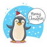 Pingouin mignon et drôle de Noël Photos stock