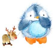 Pingouin pelucheux mignon d'oiseau Pingouin drôle d'aquarelle illustration libre de droits