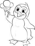 Pingouin tenant le cornet de crème glacée Photo libre de droits