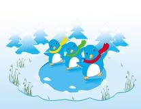 Pingouins de danse sur la glace Photos stock