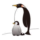 Pingouins de mère et de bébé se tenant ensemble illustration stock