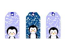 Pingouins de Noël de carte de label d'étiquette Images stock