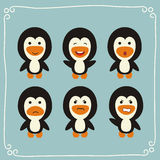 Pingouins drôles réglés de vecteur illustration libre de droits