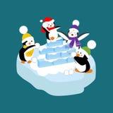 Pingouins jouant la boule de neige illustration de vecteur