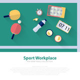 Pingpong green workspace flat icons. Ping pong table tennis Vector illustration Stock Photo