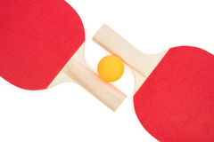 Pingpong racket and a ball  with clipping path Royalty Free Stock Image