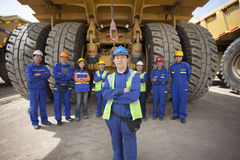 Pingshuo,China-May 24,2015:Chinese earthmoving industry workers Stock Photography