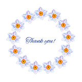 Pingstliljablommor räcker den utdragna illustrationen för vattenfärgvektormålning, den blom- runda ramen, färgrikt dekorativt väx Royaltyfria Foton