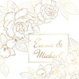 Pingstliljapåskliljan steg blommor tränga någon ramgarnering Mall för kort för inbjudan för bröllopförbindelsehändelse vektor illustrationer