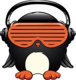 Pinguïn in de hoofdtelefoons Royalty-vrije Stock Foto