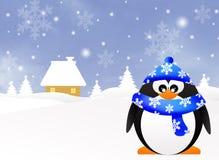 Pinguïn in de winter royalty-vrije illustratie