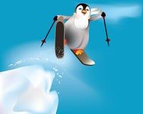 Pinguïn die en pret heeft skiô. Stock Afbeeldingen