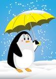 Pinguïn en paraplu Vector Illustratie