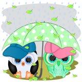 Pinguïn en uil Onder de paraplu stock illustratie