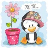 Pinguïn met bloem stock illustratie