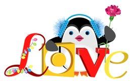 Pinguïn met een anjer en de inschrijvingsliefde Stock Afbeeldingen