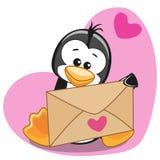 Pinguïn met envelop royalty-vrije illustratie