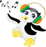 Pinguïn met hoofdtelefoons Stock Afbeeldingen