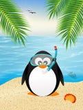 Pinguïn met scuba-uitrustingsmasker royalty-vrije illustratie