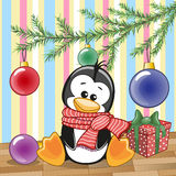 Pinguïn onder de boom Stock Foto