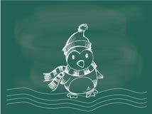 Pinguïn, vector van pinguïnkerstmis die op het bordkrijt trekken Royalty-vrije Stock Afbeelding