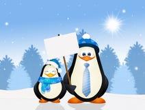 Pinguïnen in de winter royalty-vrije illustratie