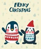 Pinguïnen in de winter vrolijke Kerstkaart royalty-vrije illustratie