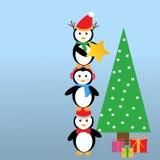 Pinguïnen en Kerstboom Royalty-vrije Stock Afbeelding