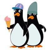 Pinguïnen en roomijs Stock Afbeelding