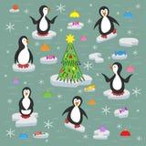 Pinguïnen op de ijsijsschollen royalty-vrije illustratie