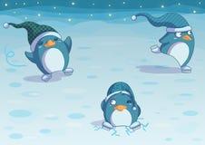 Pinguïnen op ijs Royalty-vrije Stock Foto's