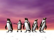 Pinguïnen op Ijs Stock Afbeeldingen