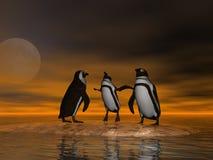 Pinguïnen op Ijs Stock Fotografie