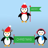 Pinguïnen voor Vrolijke Kerstmis Stock Fotografie