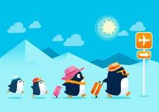 Pinguïnfamilie die op de zomervakantie reizen Royalty-vrije Stock Afbeelding