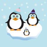 Pinguïnfamilie op de Achtergrond van het Ijsthema Stock Illustratie