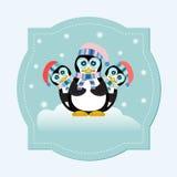 Pinguïnfamilie op Ijs blauwe Achtergrond Stock Illustratie