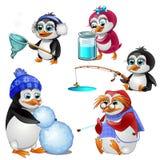 Pinguïnfamilie, ouders kinderen en grootmoeder - elke één bezig met zijn zaken Het karakter van beeldverhaaldieren stock illustratie
