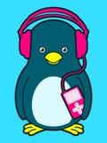 Pinguim bonito com jogador de música e auscultadores ilustração do vetor