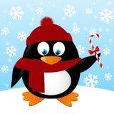Pinguim bonito dos desenhos animados no fundo do inverno Fotos de Stock