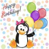 Pinguim com balões ilustração royalty free